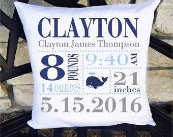 Boys Birth Announcement Pillow - Whale 14 x 14