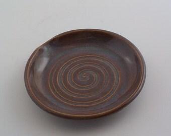 Ceramic Spoon Rest - Stoneware Kitchen Counter Coaster - Cooks Tool - Utensil Drip Plate - Trinket Dish - Ready to Ship - Iron Lustre h399