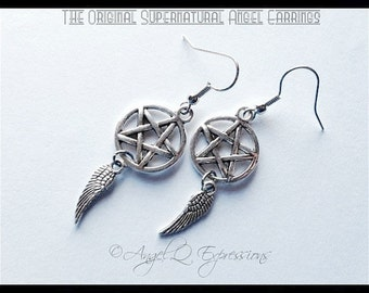The Original Supernatural Angel Pentagram and Wing Earrings