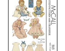 1930's McCall 513 - for 13 inch Baby Clothes for DyDee Dolls and others - PDF Sewing Pattern