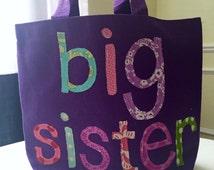 Big Sister Tote Bag - Small Tote - Big Sis Gift, Birthday Present, Library Book Bag