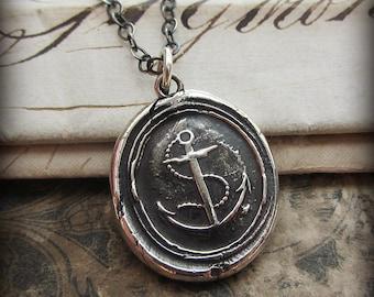 Nautical Anchor Necklace - Wax Seal Necklace - Nautical Jewelry - Anchor Jewelry - Maritime Necklace Handcrafted E2380