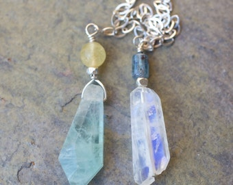 Yellow and Green Fluorite, Blue Kyanite, Rainbow Moonstone, Thai and Sterling Silver Pendulum