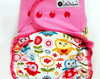 Custom Cloth Diaper or Cover - Play Day Owls (Woven) with Pink Stretchy Wings - Made to Order Nappy or Wrap - You Pick Size and Style