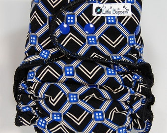 AI2 Cloth Diaper Made to Order - Black and Blue Geometric - You Pick Size and Style - Custom Cloth Nappy - Swim Type Knit (Poly/Lycra)