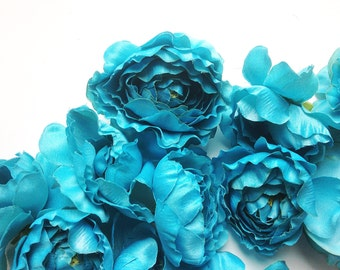 "10 Ruffle Ranunculus in Turquoise Aqua Blue - possibly ""Less than Perfect"" - ITEM 0920"