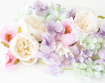 Over 20 Spring Pastel Shades Small to Medium Size Flowers - Mixed Lot of Pink, Cream, Lavender and Mint Floral - ITEM 0376