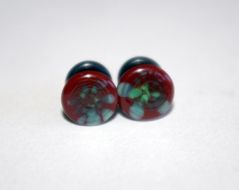 4g Brown and Green pattern glass EAR plugs BODY JEWELRY 5mm handmade new 4 gauge