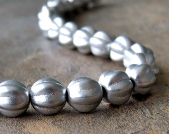Silky Silver Czech Glass Bead 6mm Melon Round : 25 pc Fluted Silver 6mm Bead