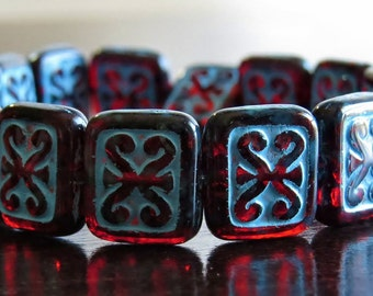 Ruby Turquoise Ancient Scrolls Czech Glass 12mm Rectangle Bead : 10 pc Red Rectangle