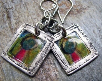 ON SALE Art Journal Colorful Photo Transfer Silver Earrings, PMC Artisan Jewelry