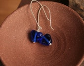 True blue for you...Artisan glass lampwork heart earrings in Cobalt blue by simply cindy