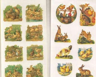 Vintage / B. Shackman and Co. / Playful Chick Seal & Bunny and Chick Seals / Two Packages / Three Sheets Each / Easter