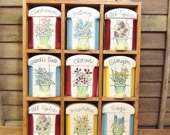 Vintage Ceramic Spice Jar Set in Wood Rack Made in Japan 9 containers Lovely colorful floral