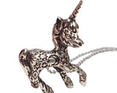 UNICORN NECKLACE silver gold tattoo jewelry sterling