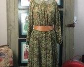 1970s floral dress 70s boho dress size medium Vintage bohemian dress casual hippie dress