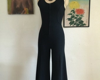 Fall sale 1970s jumpsuit black jumpsuit zip front jumpsuit catsuit size small wide leg jumpsuit