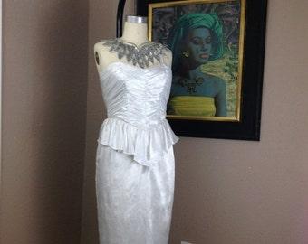 Sale 1980s white cocktail dress 80s peplum evening dress size small medium Vintage ruched satin wiggle dress