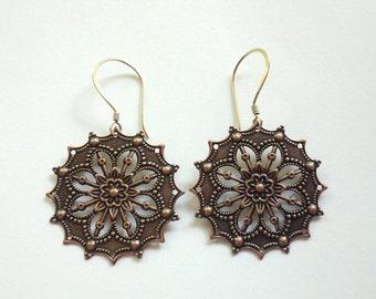 SALE 20% off Copper Medallion Earrings Sterling Silver Earwires