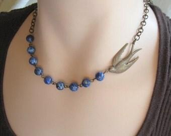 SALE 20% off Blue bird Necklace, BlueBird Necklace, Nature Jewelry, Woodland Jewelry, Bird Watcher, Nature Lover, Gemstone Necklace