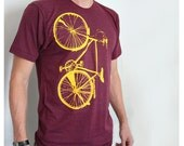 Bike T-shirt Mens / Unisex Yellow Bicycle Screenprint on Cranberry