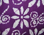 PURPLE faux Indian or AFRICAN BATIK cotton fabric