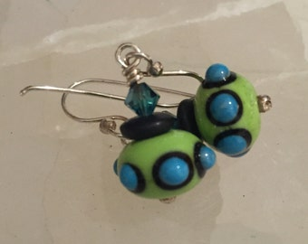 Fancy Glass Earrings in Green, Blue and Black