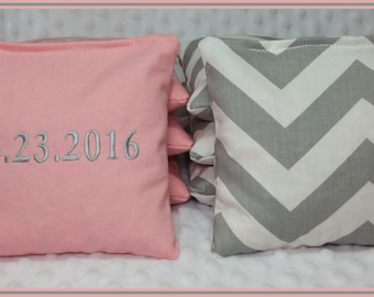 Cornhole Bags Monogram Set of 8 Bags Light Pink and Grey Chevron