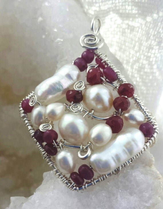 Wire wrapped Sterling silver one-of-a-kind Ruby Pearl Diamond Pendant