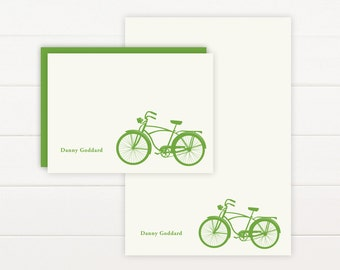BICYCLE Personalized Stationery + Notepad Set, Personalized Notepad and Personalized Stationary