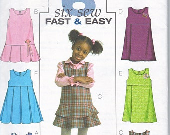 Butterick 4842 Toddler Girls Jumpers Easy Sewing Pattern Sizes 1-3 Out of Print UNCUT