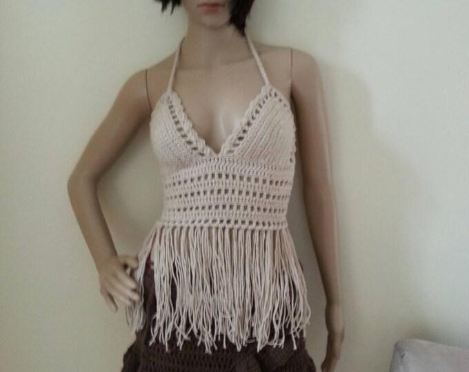 BEIGE FESTIVAL TOP, fringe halter top, hippie top, gypsy top, elongated fringe halter, bikini cover, beachwear, summer top, gypsy, Boho chic