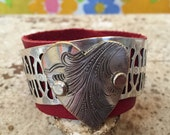 Red Leather Cuff with Vintage Silver Tray Cut Heart