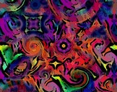 Artist UNIQUE Canvas Fabric By The Yard Fiber Art Sky Cosmos Kaleidoscope Chair cover