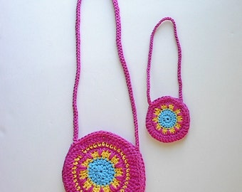 Girl and Doll Matching Crocheted Purses - Handmade to Fit the American Girl Doll and Matching Girl Purse in Pink with Yellow and Turquoise