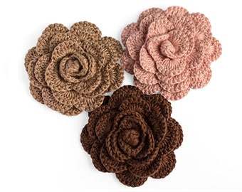 Handmade crochet roses - 3 crochet flowers in beige, brown and soft pink, wedding flowers, home decor, rose appliques