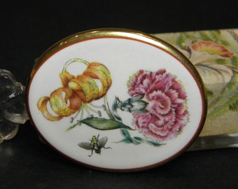Vintage Porcelain Pin Brooch Botanical Insect