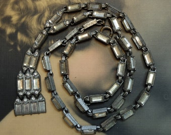 Vintage Art Deco Jewelry Linked Rhinestone Necklace