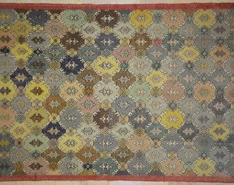 Rug Overdyed Vintage Multicolor Lantern Carpet 6'x9'