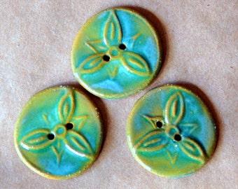 3 Handmade Stoneware Flower Buttons - Trillium Buttons in Spring Green on Brown Stoneware
