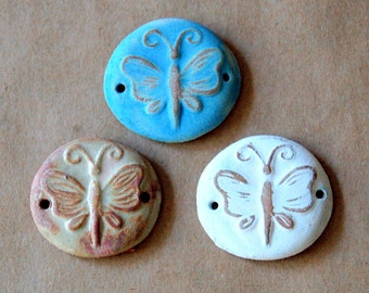 3 Handmade Ceramic Beads - Butterfly Bracelet Beads - Stoneware Link Beads - Rustic Butterfly Links Perfect for Summer Bracelets