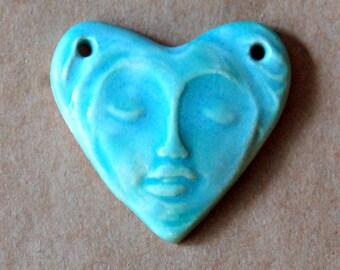 Sweet Ceramic Bead - Handmade Face in a  Heart 2 holed link Bead -  Serene Goddess Pendant in Aqua - Serene Zen Goddess