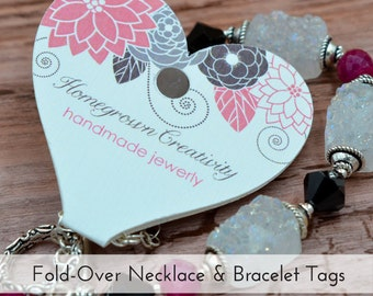Custom Pink Grey Flower Heart Fold Over Jewelry Display Necklace Cards Tags | DS0025