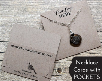 Necklace Display Cards with Pockets to Hold Chain - Product Packaging - Display Cards