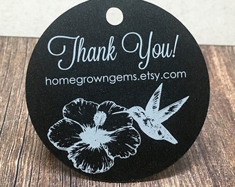 Hummingbird Flower Thank You Tags - White on Black - Wedding - Price Tags - Hang Tags - Packaging