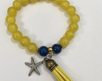 Beaded starfish tassel bracelet in yellow