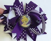 Boutique bottle cap Tinkerbell Inspired Hair Bow Clip