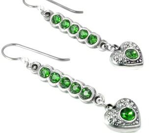Emerald Heart Earrings, May Birthstone, Birthstone Earrings, Choose your own birthstone, Birthday Earrings, Girlfriend Earrings Gift