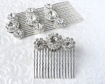 Rhinestone Flower Hairpiece Jeweled Hair Comb Silver Wedding Headpiece Bridesmaid Accessory Ballroom Costume Pageant Jewelry Formal Prom
