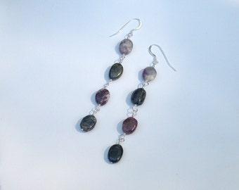 Tourmaline Multi Color stone Sterling silver Dangle Earrings Bohemian Earth Love